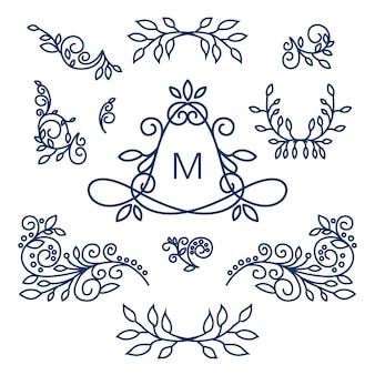 Grand vecteur set de dessin floral de ligne