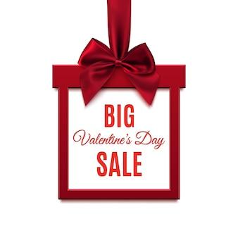 Grand, vente de saint valentin rouge, bannière carrée