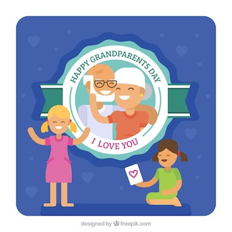 Granddaughters background and grandparents day badge