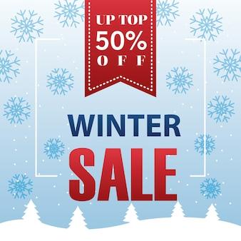 Grande affiche de vente d'hiver avec conception d'illustration suspendue ruban