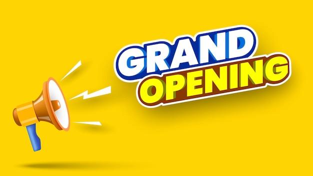 Grande bannière d'ouverture avec mégaphone sur fond jaune illustration vectorielle