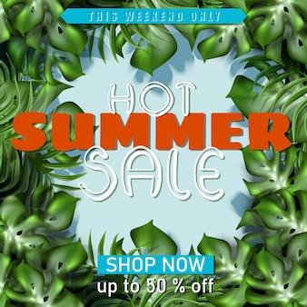 Grande bannière de vente d'été avec cadre de feuilles tropicales
