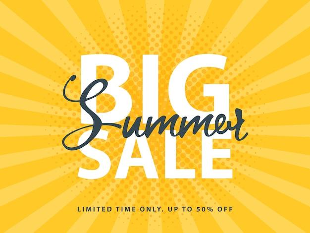 Grande bannière de vente d'été avec décoration rétro en demi-teinte pop art