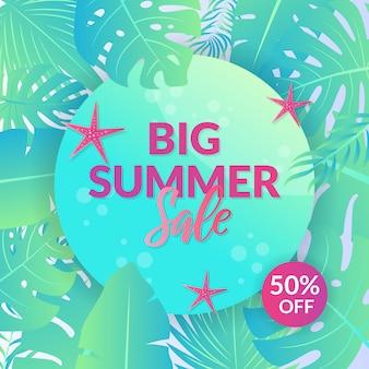 Grande bannière de vente d'été avec feuille tropicale dégradée