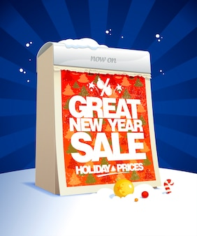 Grande bannière de vente de nouvel an