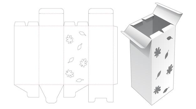 Grande boîte d'emballage à ouverture centrale avec gabarit de découpe d'automne au pochoir