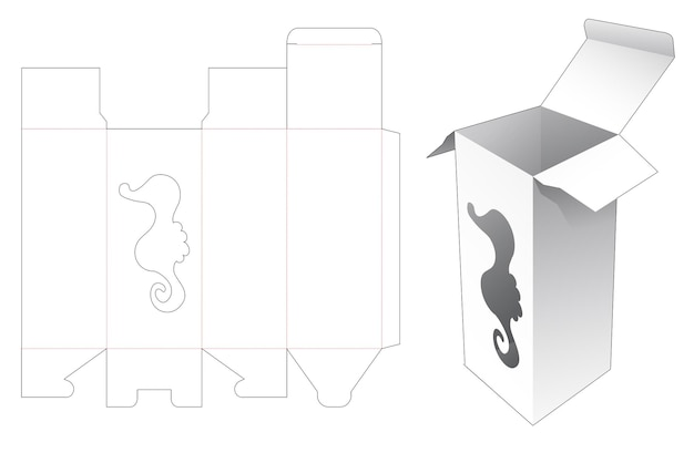 Grande boîte avec des fenêtres en forme d'hippocampe gabarit découpé