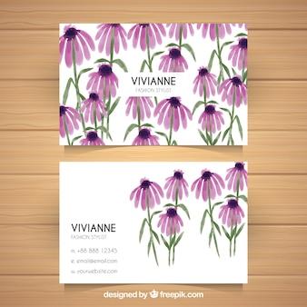 Grande carte d'entreprise avec des fleurs violettes