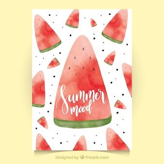Grande carte d'été avec des portions de pastèque