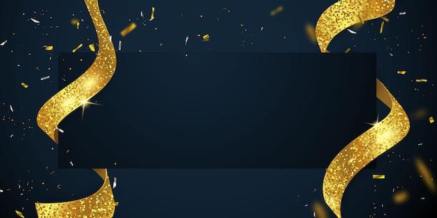 Grande carte d'ouverture avec modèle de cadre de paillettes de fond de ruban doré.
