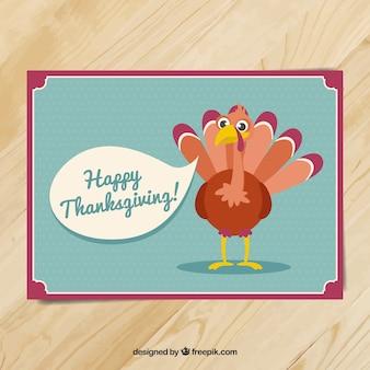 Grande carte pour thanksgiving avec une belle dinde