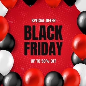 Grande carte de vente vendredi noir avec des ballons avec un filet de dégradé,