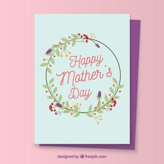 Grande carte de voeux avec couronne de fleurs pour la fête des mères