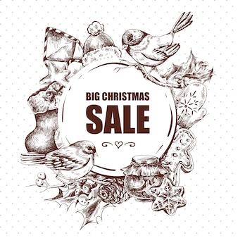 Grande carte de voeux de vente de noël avec des éléments de l'année hew