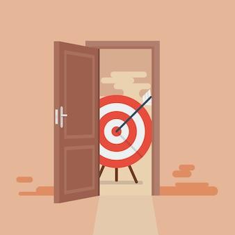 Grande cible derrière la porte ouverte