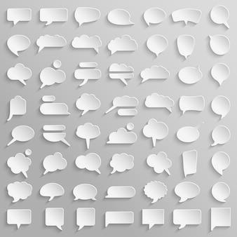 Grande collection de bulles de papier blanc