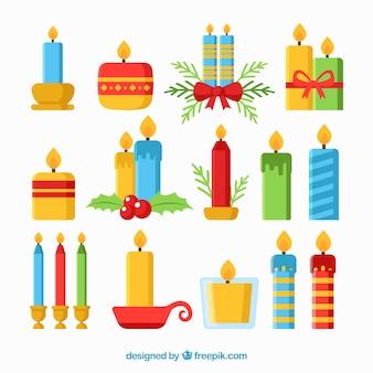 Grande collection de différentes bougies de noël