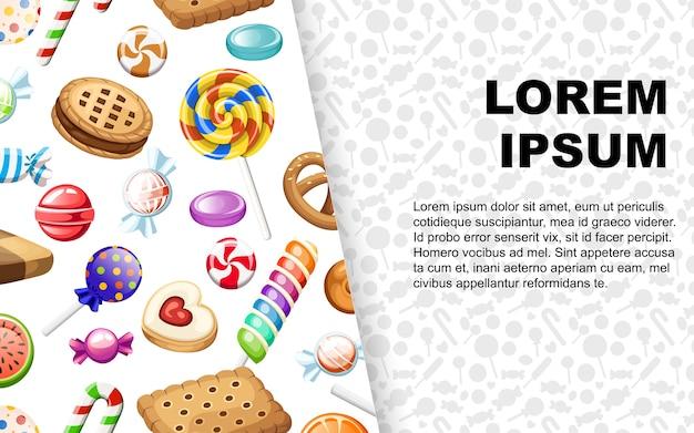 Grande collection de différents bonbons emballés et non sucettes