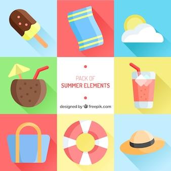 Grande collection d'éléments d'été en conception plate