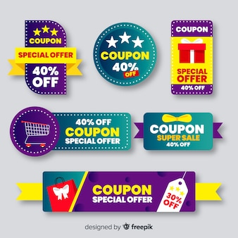 Grande collection d'étiquettes de vente de coupons