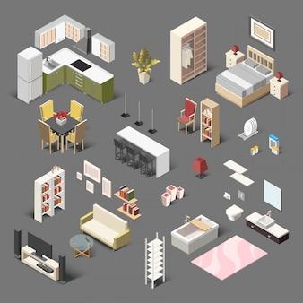 Grande collection isométrique de meubles domestiques pour le salon, la salle de bain, la chambre et la cuisine.