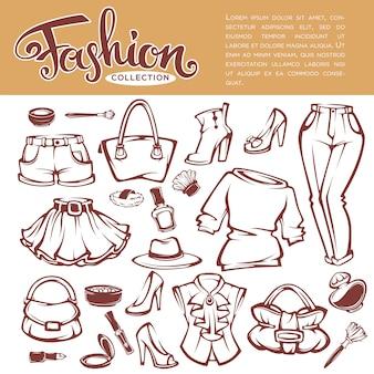 Grande collection d'objets de mode et de style, vêtements, cosmétiques et accessoires