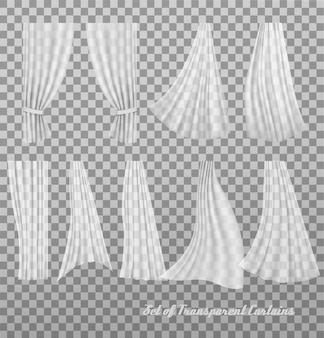 Grande collection de rideaux transparents. vecteur