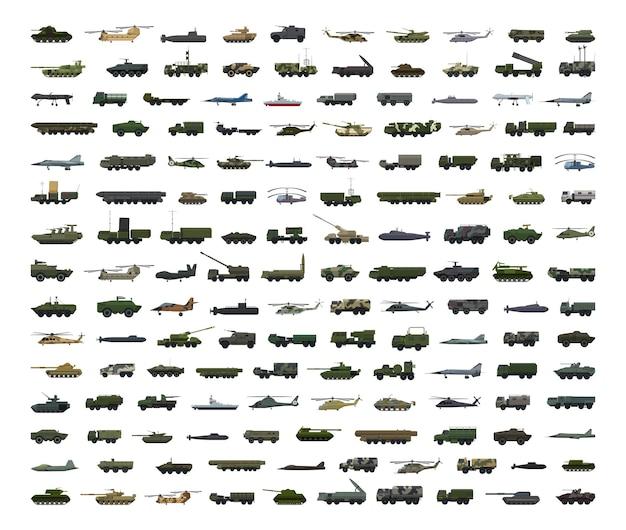 Grande collection de transports et d'équipements militaires détaillés.