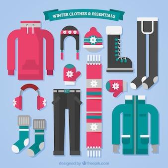 Grande collection de vêtements d'hiver en design plat