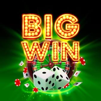 Grande enseigne de casino de victoire, conception de bannière de jeu. illustration vectorielle