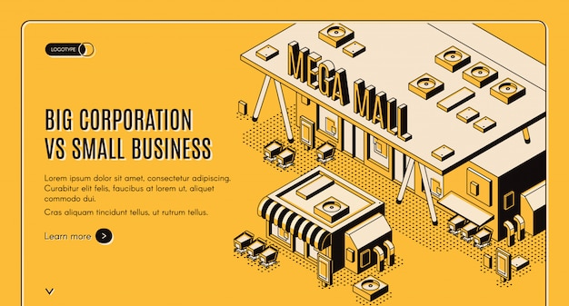 Grande entreprise dans la bannière isométrique de petites entreprises