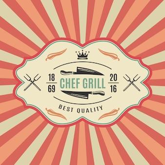 Grande étiquette de barbecue rétro avec chef grill meilleure qualité