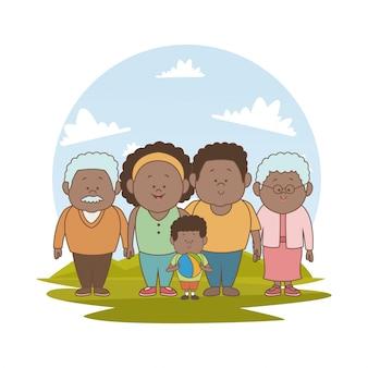 Grande famille brune parents papa et petit garçon avec grands-parents