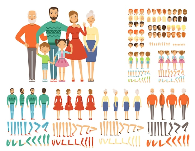Grande famille. création de mascotte définie des personnages père mère grands-parents fille fils parties du corps et pose pour l'animation 2d. vector famille mère et père, visage heureux et illustration kit geste