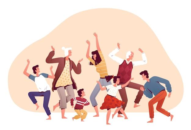 Grande famille dansant ensemble