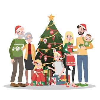 Grande famille debout à l'arbre de noël. décoration de vacances traditionnelle pour fête. des gens heureux à la maison avec des cadeaux. illustration