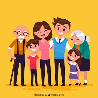 Grande famille heureuse avec un design plat
