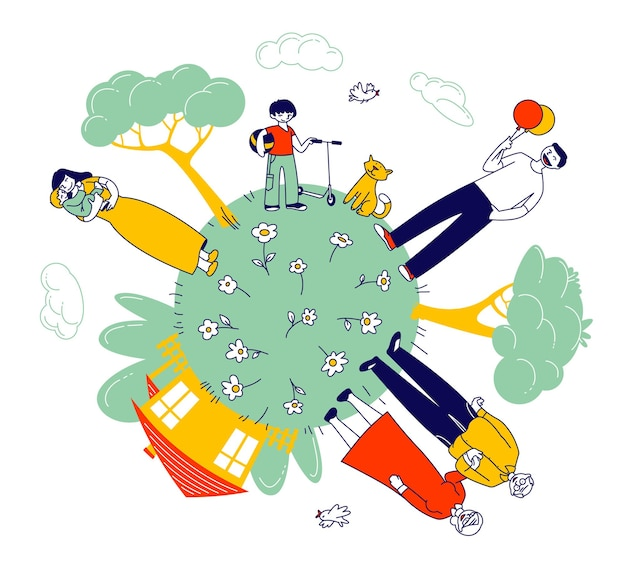 Grande famille heureuse de grands-parents, parents et enfants au green earth globe avec maison et arbres verts autour. illustration plate de dessin animé