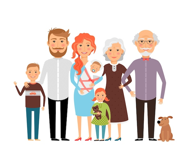 Grande famille heureuse. père mère fils fille grand-père grand-mère. illustration vectorielle