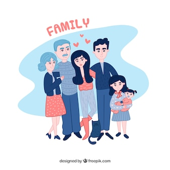 Grande famille heureuse avec style dessiné à la main