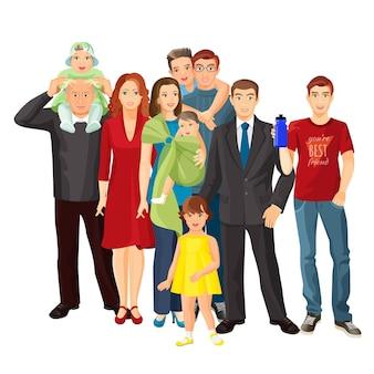 Grande famille isolée sur blanc