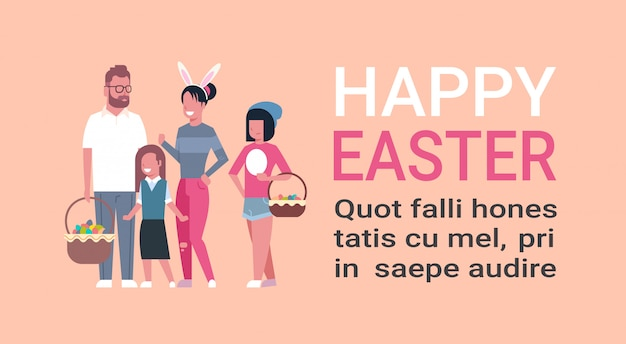 Grande famille joyeuses pâques, parents et enfants célèbrent les vacances du printemps avec des oreilles de lapin