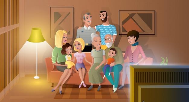Grande famille, passer, soir, temps, vecteur, ensemble