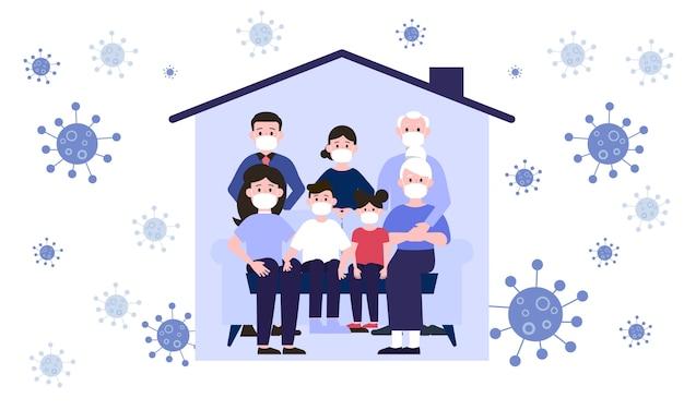 Grande famille portant un masque chirurgical pour empêcher le virus dans l'illustration de la maison
