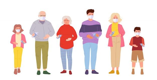 Grande famille protégée contre les virus. utilisez des masques médicaux, gardez vos distances, désinfectez les mains au gel d'alcool. arrêter la pandémie de coronavirus dans l'air, concept de style dessin animé