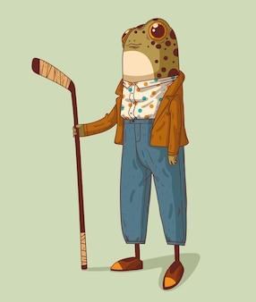 Une grande grenouille habillée de style rétro avec un bâton de hockey est prête à gagner