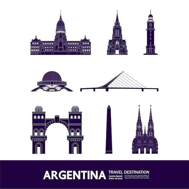 Grande illustration de destination de voyage en argentine.