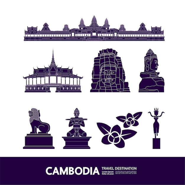 Grande illustration de destination de voyage au cambodge.