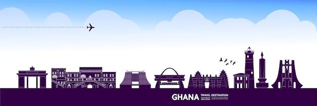Grande illustration de destination de voyage au ghana