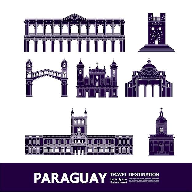 Grande illustration de destination de voyage au paraguay.